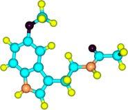 Molekyl av melatoninen som isoleras på vit Royaltyfri Bild