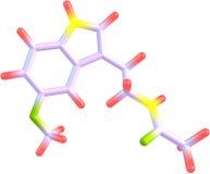 Molekyl av melatoninen som isoleras på vit Royaltyfria Foton