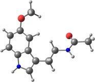 Molekyl av melatoninen som isoleras på vit Royaltyfri Foto