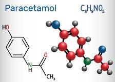 Molekyl för Paracetamolacetaminophendrog Strukturell kemikalie f vektor illustrationer