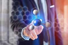 molekyl för tolkning 3d på som visas på en medicinsk manöverenhet Arkivfoton