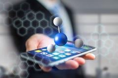 molekyl för tolkning 3d på som visas på en medicinsk manöverenhet Arkivbilder