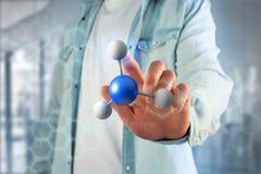 molekyl för tolkning 3d på som visas på en medicinsk manöverenhet Royaltyfria Bilder