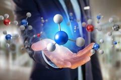 molekyl för tolkning 3d på som visas på en medicinsk manöverenhet Royaltyfri Bild