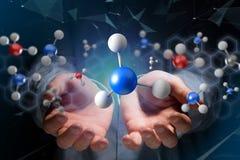molekyl för tolkning 3d på som visas på en medicinsk manöverenhet Royaltyfri Foto