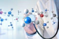 molekyl för tolkning 3d på som visas på en medicinsk manöverenhet Royaltyfria Foton