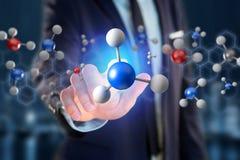 molekyl för tolkning 3d på som visas på en medicinsk manöverenhet Arkivfoto