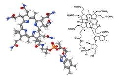 Molekyl för vitamin B12 med kemisk formel Arkivfoton