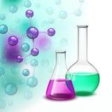Molekyl och färgrik sammansättning för skyttlar stock illustrationer