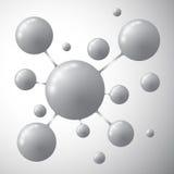 Molekyl på en grå bakgrund Royaltyfria Bilder
