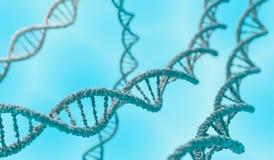 Molekylar för dubbel spiral för DNA på blå bakgrund framförd illustration 3d Royaltyfria Bilder