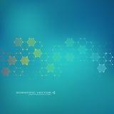 MolekylDNA och neuronsvektor molekylär struktur Förbindelselinjer med prickar Genetiska kemiska sammansättningar Kemi Arkivbilder