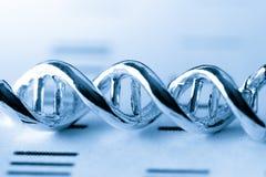 Molekylärt, DNA:t och atomen modellera i vetenskapsforskninglabb Arkivfoto
