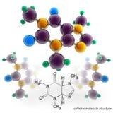 Molekylstruktur av koffein stock illustrationer