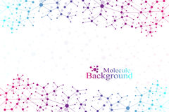 Molekylstrukturdna och kommunikationsbakgrund Förbindelselinjer med prickar Begrepp av vetenskapen, anslutning Royaltyfria Bilder