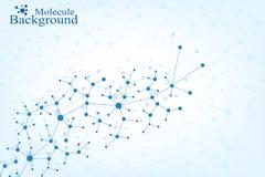 Molekylstrukturdna och kommunikationsbakgrund Förbindelselinjer med prickar Begrepp av vetenskapen, anslutning Royaltyfri Foto