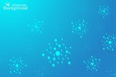 Molekylstrukturdna och kommunikationsbakgrund Förbindelselinjer med prickar Begrepp av vetenskapen, anslutning Royaltyfri Bild