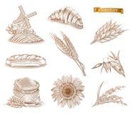 Molen, brood en tarwe Reeks van het gravure de vectorpictogram stock illustratie