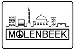 Molenbeek text with buildings outline. Molenbeek text with peace symbol and muslim buildings silhouette line Royalty Free Stock Photo