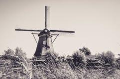 Molens door de Rivier in Kinderdijk royalty-vrije stock foto