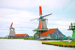 Molens van Zaandam, Nederland stock afbeeldingen