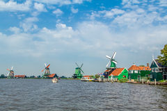 Molens at the Zaanse Schans in Zaandam. stock photography