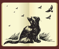Moleskin drawing of a cat and flying birds stock illustration