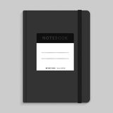 Moleskin notebook with black elastic band vector image. Royalty Free Stock Photography