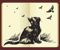 Moleskinzeichnung einer Katze und der Flugwesenvögel Stockfotografie