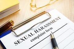 Molestowanie Seksualne skargi forma obraz stock