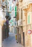Molfetta, Apulia - A black cat tiptoeing through a historic alle royalty free stock photo