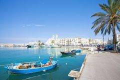 Molfetta, Apulia - JUNE 3, 2017 - Traditional fishing boats at t royalty free stock images