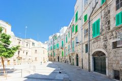 Molfetta, Apulia - Marketplace of Molfetta surrounded by residential buildings royalty free stock photography