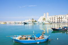 Molfetta, Apulia - A traditional fishing boat at the harbor of M royalty free stock photo