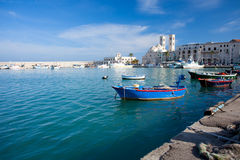 Molfetta Harbour with Duomo Royalty Free Stock Photo
