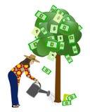 Molhando a árvore do dinheiro Foto de Stock Royalty Free
