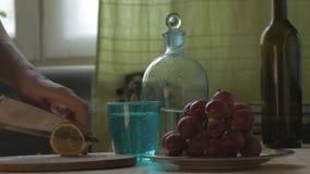 Molhe é derramado no vidro, cortado um limão e jogam-no em um vidro vídeos de arquivo