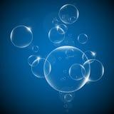 Molhe bolhas em um fundo azul e preto EPS10 Fotografia de Stock