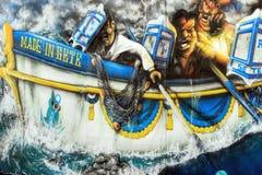 Molhe a cena Jousting dos grafittis em Sete, França Fotos de Stock Royalty Free