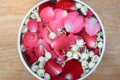 Molhe com jasmim e corola das rosas na bacia Foto de Stock