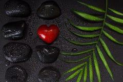 Molhe coração vermelho a pedra dada forma com as pedras pretas do basalto e a folha verde, no fundo preto imagens de stock