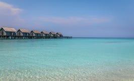 Molhe de madeira em Maldivas exóticos Fotos de Stock Royalty Free
