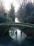 Molhe a geada de pedra fria do inverno do parque da ponte das árvores do lago Foto de Stock
