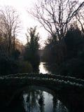 Molhe a geada de pedra fria do inverno do parque da ponte das árvores do lago Foto de Stock Royalty Free