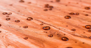 Molhe grânulos acima na ilustração 3d de madeira recentemente selada bonita do cedro Imagens de Stock