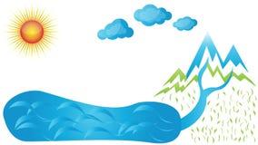Molhe o ciclo, água no movimento, vídeo ilustração royalty free