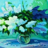 Molhe o ramalhete fresco dos lilás, pintura a óleo na lona, illustratio ilustração stock