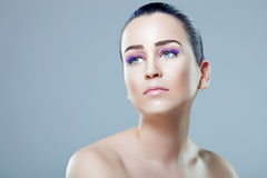 Molhe o retrato da beleza do olhar Foto de Stock