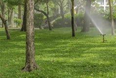 Molhe o sistema de extinção de incêndios para refrescar jardins no parque público Fotografia de Stock Royalty Free