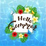 Molhe o verão do fundo e do texto olá! com flores Imagem de Stock Royalty Free